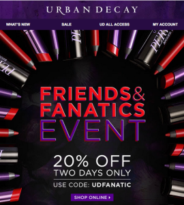 Urban Decay 20% off Sale